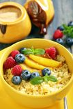Bowl of wheat porridge closeup. Royalty Free Stock Photos