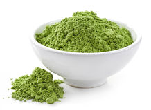 Bowl of wheat sprouts powder Stock Image