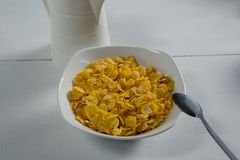 Bowl of wheaties cereal with spoon Stock Photography
