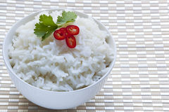 Bowl of White Rice with Red Chili and Cilantro Royalty Free Stock Images