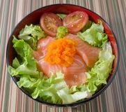 Bowl of White Rice Topping with Salmon Stock Photography