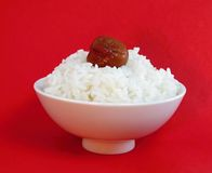 Bowl of white rice with ume Royalty Free Stock Photo