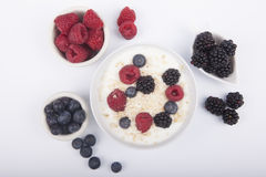 Bowl of white yogurt with berries and oat flakes. On white background Royalty Free Stock Photos