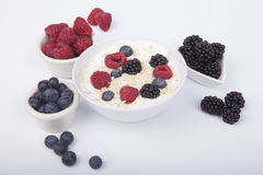 Bowl of white yogurt with berries and oat flakes isolated. On white background Stock Photo