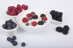 Bowl of white yogurt with berries and oat flakes isolated. On white background Stock Photos