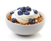 Bowl of whole grain muesli with yogurt and blueberries isolated Royalty Free Stock Photography