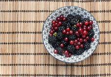 Bowl with wild blackberries and redcurrants Royalty Free Stock Images