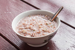 Bowl of wild and brown rice soup Royalty Free Stock Photo