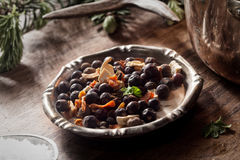 Bowl of Wild Game Meat Rub on Wooden Table Royalty Free Stock Photography