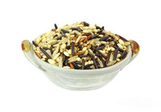 Bowl of Wild White Rice Mix Royalty Free Stock Photos