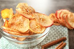 Free Bowl With Tasty Apple Chips Stock Photo - 109213710