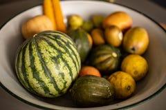 Free Bowl With Watermelon, Pumpkin, Lemons And Kiwi Stock Photos - 161380343