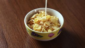 Bowl on wood table full of cornflakes soaked in milk, high definition FullHD stock video