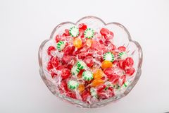 Bowl of Wrapped Candies stock photography