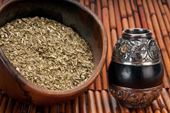 Bowl of yerba and mate Royalty Free Stock Photos