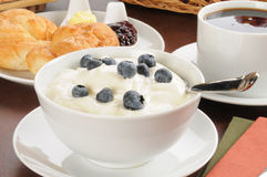 Bowl of yogurt Stock Photos