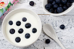 Yogurt with blueberries Stock Images
