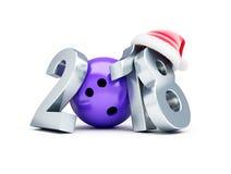 Bowla den santa för nytt år 2018 hatten på en vit illustration för bakgrund 3D, tolkning 3D Royaltyfria Bilder
