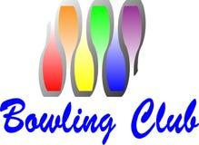 bowla klubbalogo stock illustrationer