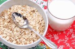 Bowla med oatmealen, och exponeringsglas av mjölkar Royaltyfri Foto