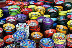 bowlar färgglad teaturk Royaltyfri Fotografi