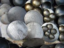 bowlar traditionella steka indiska pannor Arkivfoton