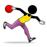 Bowler. Silhouette-man sport icon - bowler Stock Images