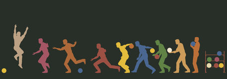 Bowler. Colorful editable  silhouette sequence of a man bowling Royalty Free Stock Photos