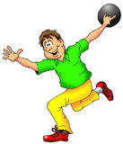 The Bowler. Cartoon Illustration of a Man Throwing a Bowling Ball Royalty Free Stock Photos