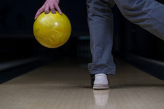 Bowler Attempts To Take Out Remaining Pins Stock Photo