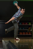 Bowler Attempts To Take Out Remaining Pins Stock Photography