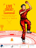 Bowler bowling in cricket championship sports. Illustration of Bowler bowling in cricket championship sports Royalty Free Stock Photography