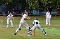 A bowler bowling to a batsman. Royalty Free Stock Photos