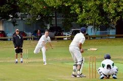 A bowler bowling to a batsman. Royalty Free Stock Photo