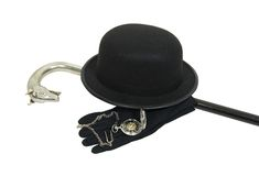 Bowler, cane and watch Royalty Free Stock Image