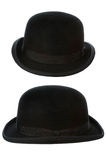 Derby or bowler hat on white. Bowler or derby hat front and side view isolated on a white background Stock Photography