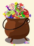 Bowler filled with sweets, apples, chocolate. Symbol Halloween. Vector illustration. Royalty Free Stock Photography