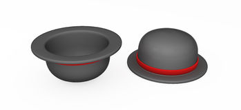 Bowler Hat. Black 3d bowler hat, top and bottom views, isolated Stock Images