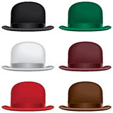 Bowler hat. A bowler or derby hat selection in black, gray, red, green, burgundy and brown colors Royalty Free Stock Images