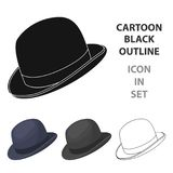 Bowler hat icon in cartoon style  Royalty Free Stock Images