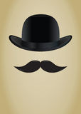 Bowler hat and moustache Royalty Free Stock Photos
