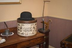 Bowler Hat. A very old Bowler Hat with hat box. Could be from Victorian England UK stock photos
