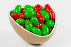Bowlful of Christmas Jellybeans. A bowl full of red and white jellybeans for Christmas Royalty Free Stock Images