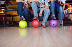 Bowlin players. Photo of group of friends bowling stock photos