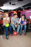 Bowlin players. Photo of group of friends bowling stock photo