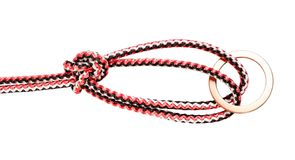 Bowline on a bight knot tied on synthetic rop. E cut out on white background stock image