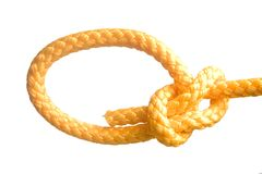 Bowline knot. Tided on gold rope Royalty Free Stock Image