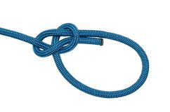 Bowline. A knot of blue rope. Isolated on white background stock photos