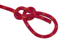Bowline knot red rope. Isolated on white background royalty free stock photo