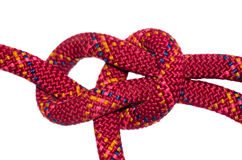 Bowline knot red rope. Isolated on white background stock image